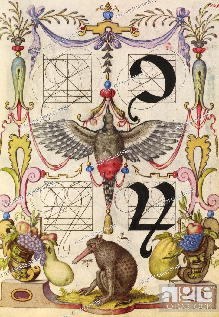 Stock Photo: Guide for Constructing the Tironian con and orum; Joris Hoefnagel (Flemish , Hungarian, 1542 - 1600); Vienna, Austria; about 1591 - 1596; Watercolors.