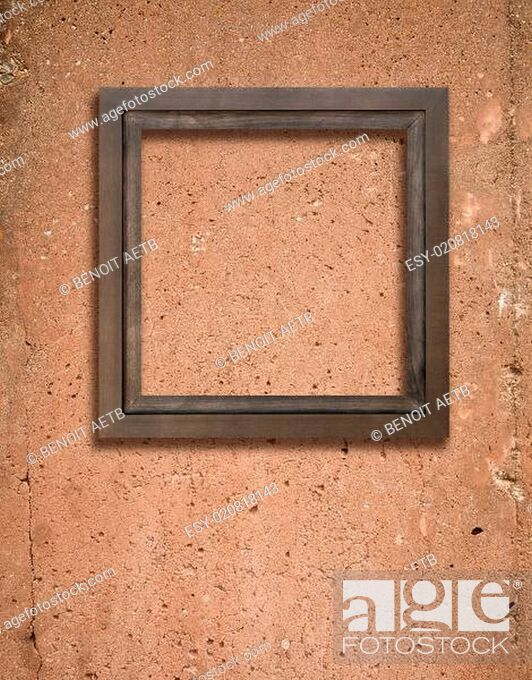 Stock Photo: Concrete texture and wooden frame.