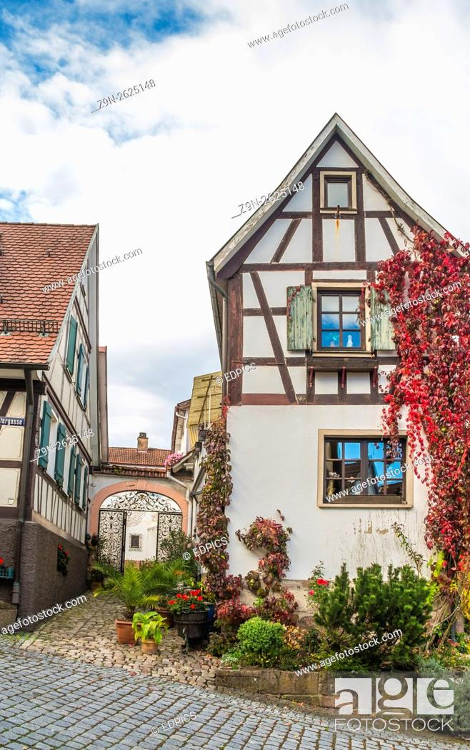 Stock Photo: overgrown half-timbered building, historic center, gernsbach, black forest, baden-wuerttemberg, germany.
