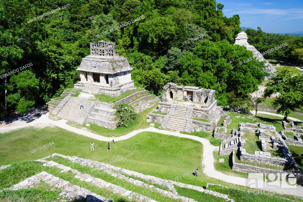 Imagen: Overview of Temples of the Sun, XIV and of the Inscriptions. Palenque, Chiapas, Mexico.