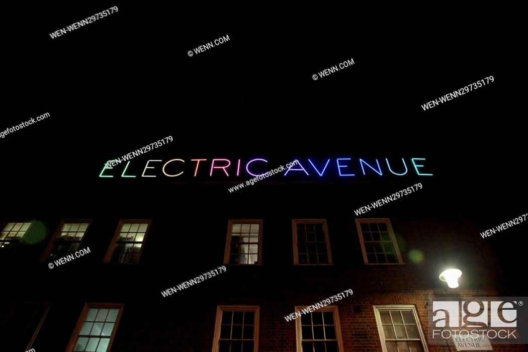 Stock Photo The New Electric Avenue Illuminated Sign Switched On By Eddy Grant To Mark Completion Of 1m Refurbishment Works Along Market Street