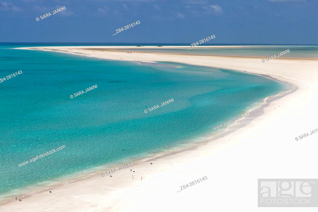 Stock Photo: Sand bar on the seaward edge of Ditwah lagoon near Qalansiyah, Socotra island, listed as World Heritage by UNESCO, Yemen, Arabia, West Asia.