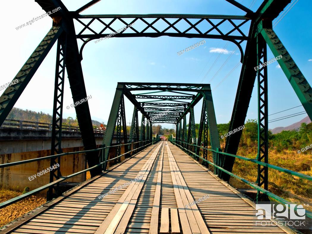 Stock Photo: Historical bridge over the pai river in Mae hong son, Thailand.