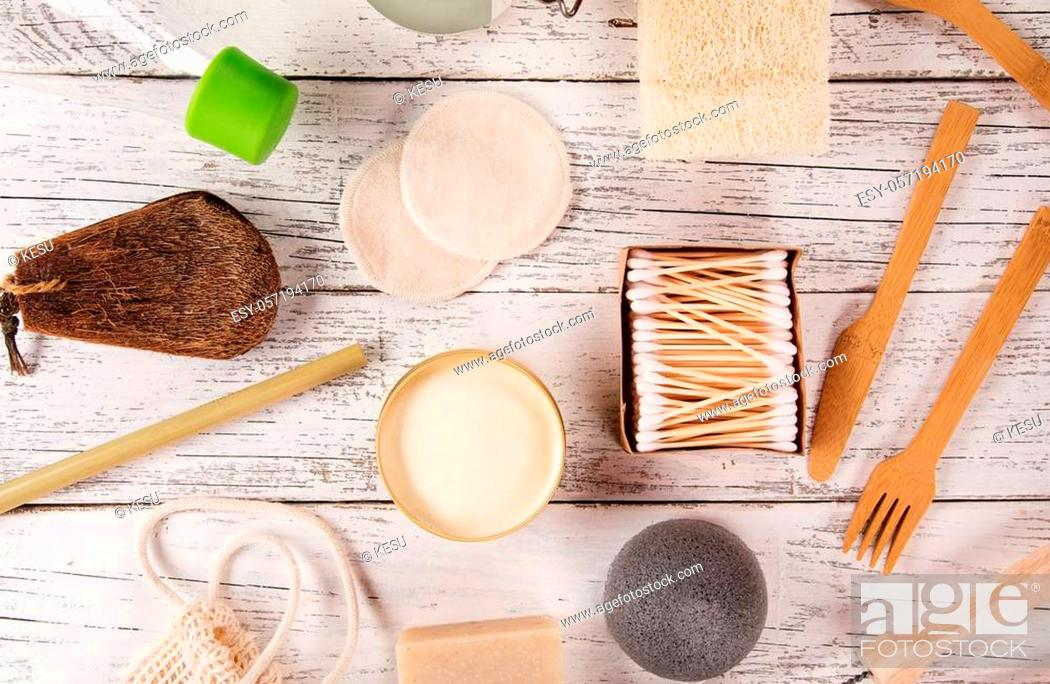 Stock Photo: Zero waste food and other cleaning tools. Sustainable lifestyle concept. plastic free items made of natural materials.