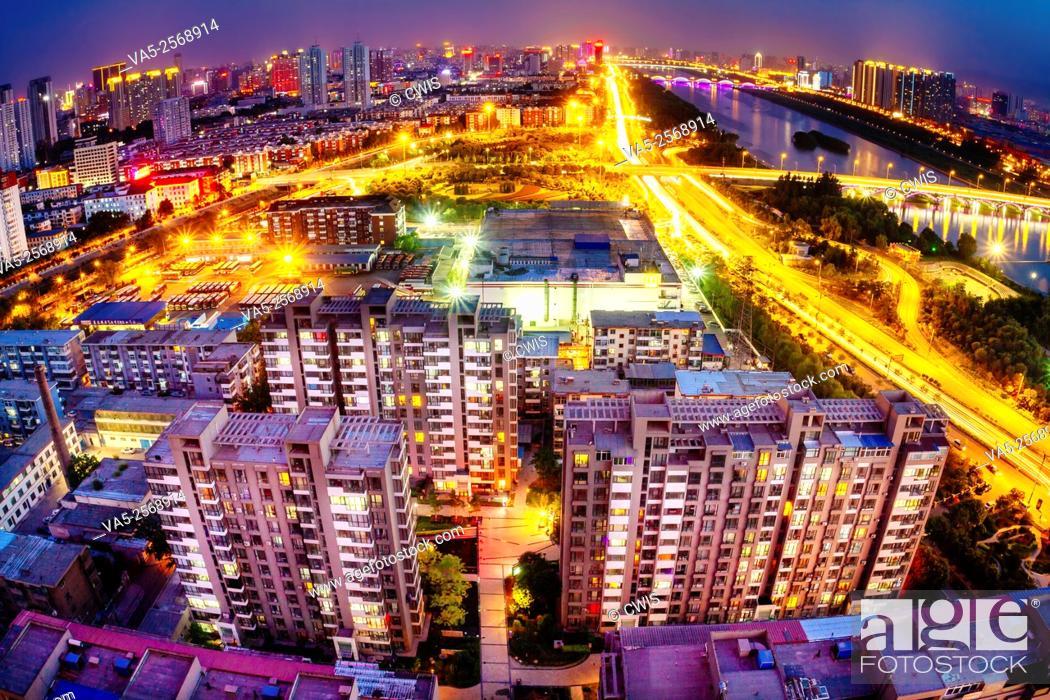 Stock Photo: Taiyuan, Shanxi province, China - Panorama view of Taiyuan city in fisheye view.