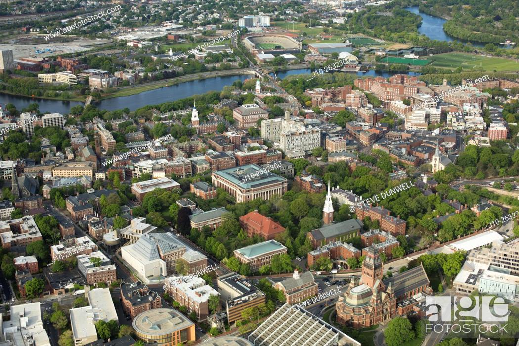 Stock Photo: Harvard University campus aerial, Cambridge, MA looking over Harvard Yard south towards Charles River.