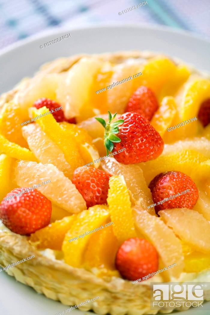 Stock Photo: Close up of a fruit tart.