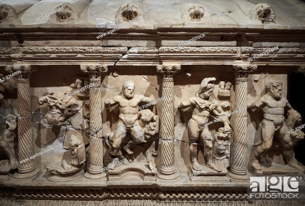 Stock Photo: Roman Herakles (Hercules) relief sculptured sarcophagus, 2nd century AD, Perge, inv 928. it is from the group of tombs classified as.