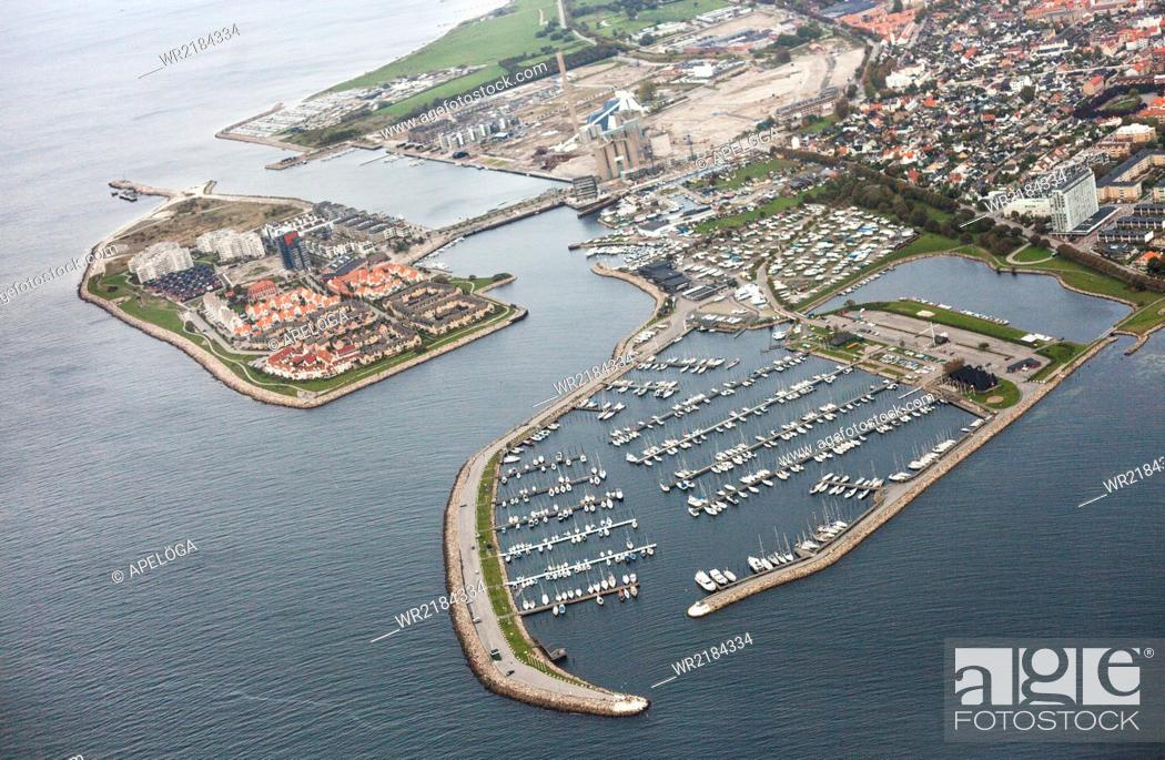 Stock Photo: Aerial view of harbor and residential area.