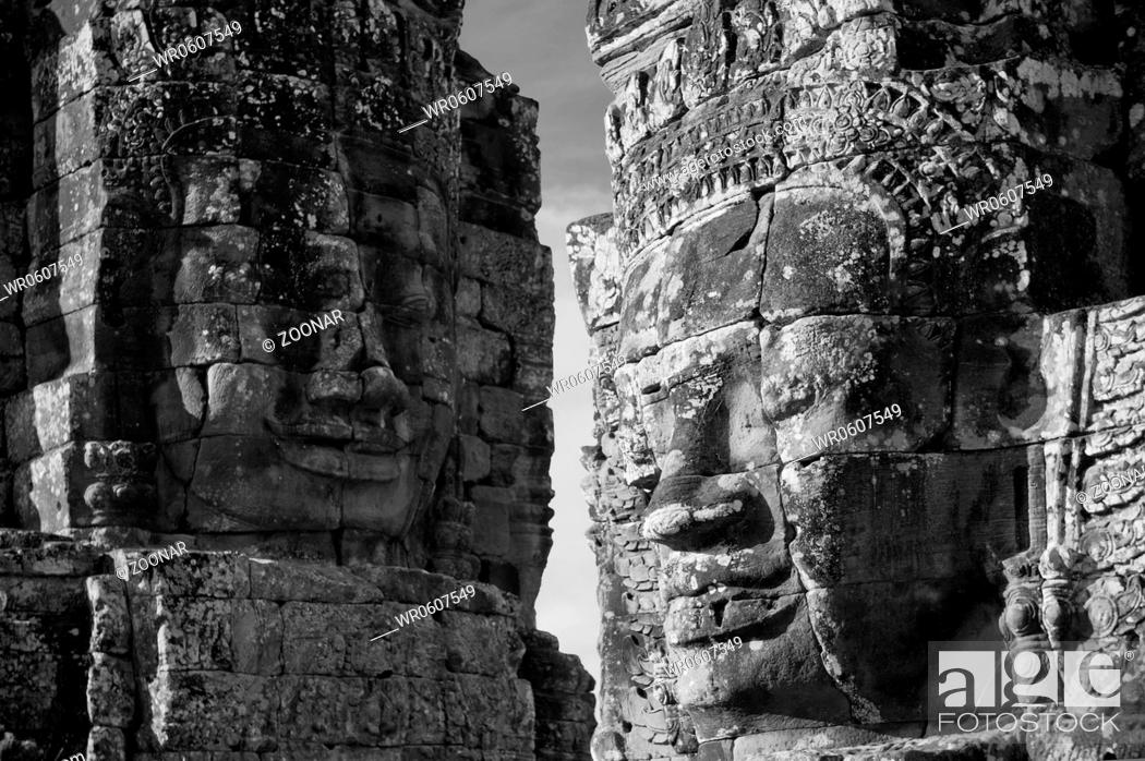 Stock Photo: Faces of Bayon temple, Angkor, Cambodia.