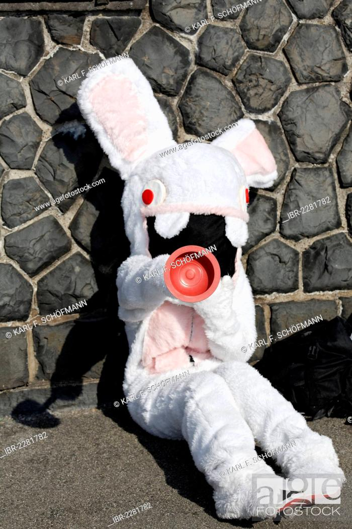 Stock Photo: Cosplayer dressed as a stuffed bunny, Japan Day, Duesseldorf, North Rhine-Westphalia, Germany, Europe.