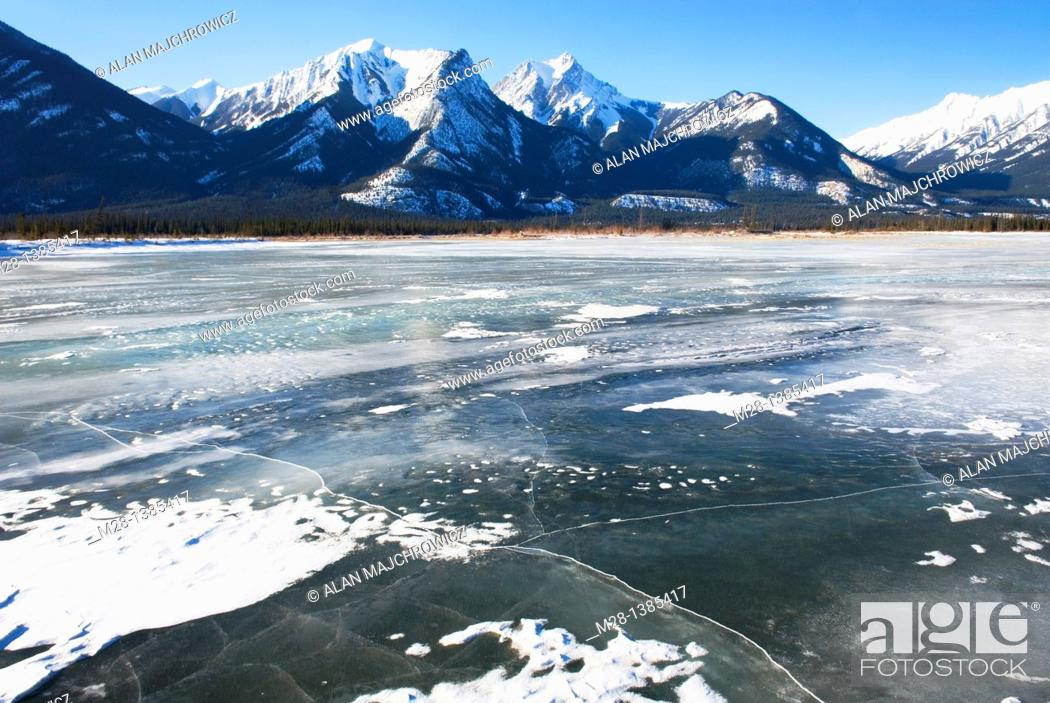 Stock Photo: Frozen Athabasca River, Jasper National Park Alberta Canada.