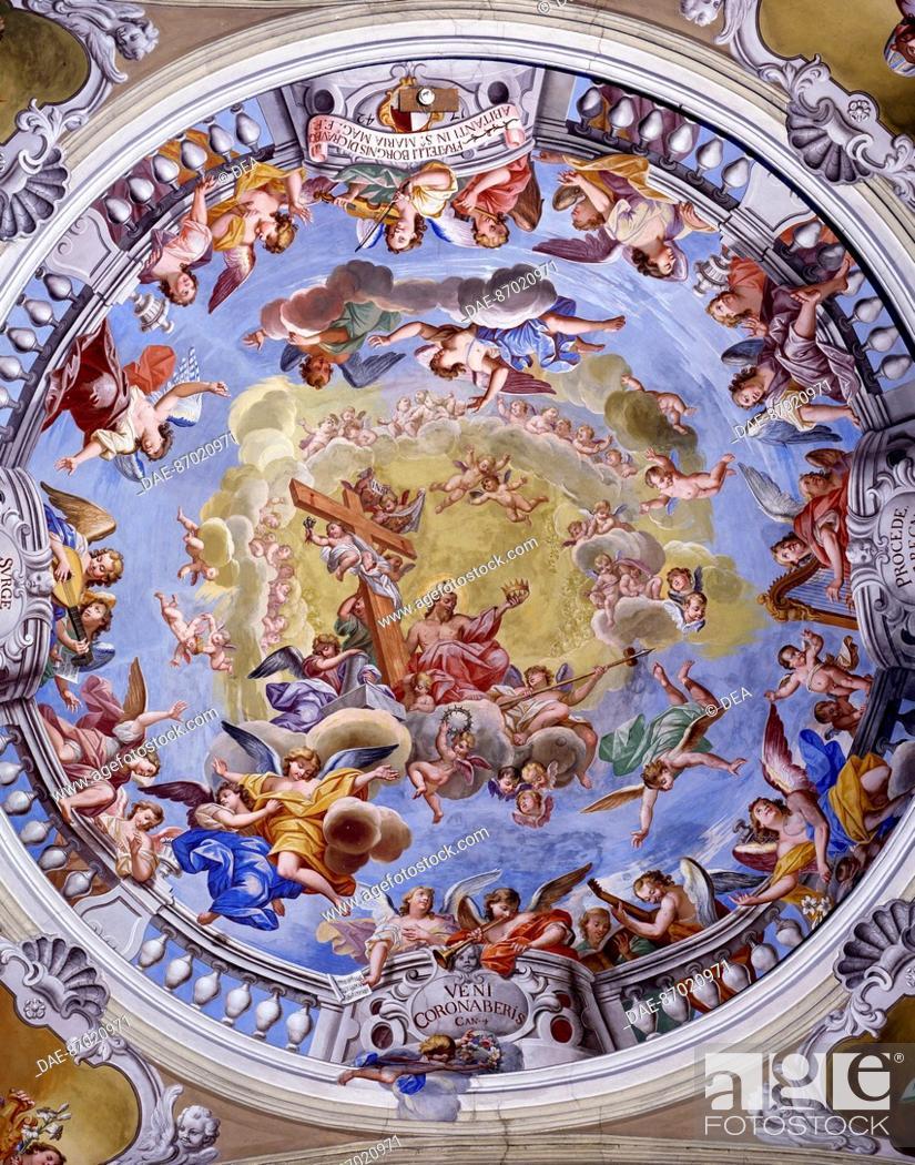 Stock Photo: Fresco by Giuseppe Mattia Borgnis (1701-1761), central dome of Parish Church of the Assumption, Santa Maria Maggiore. Italy, 13th century.