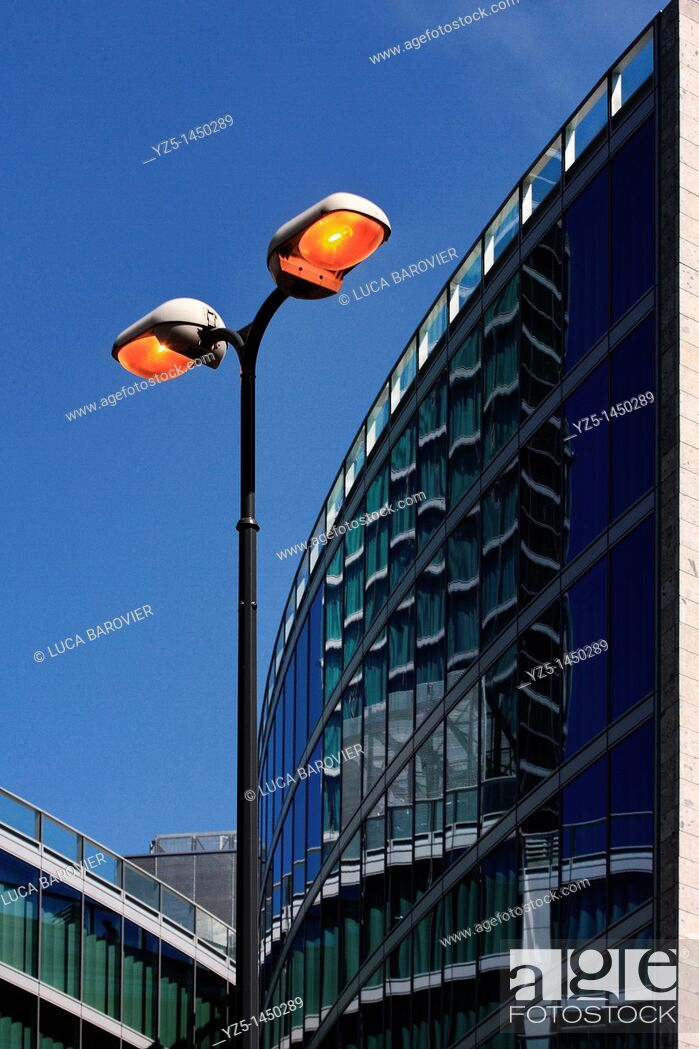 Stock Photo: Street lamp and Palazzo della regione - Milan, Italy.