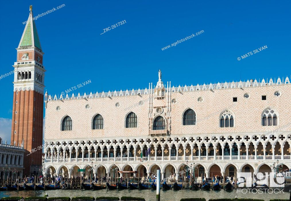 Stock Photo: Ducal Palace and Bell tower in St. Mark's Square in Venice, Italy.