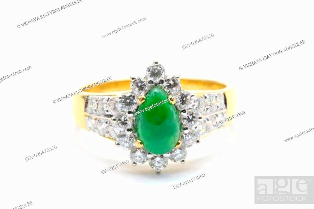 Stock Photo: Jade Diamond Wedding Ring.
