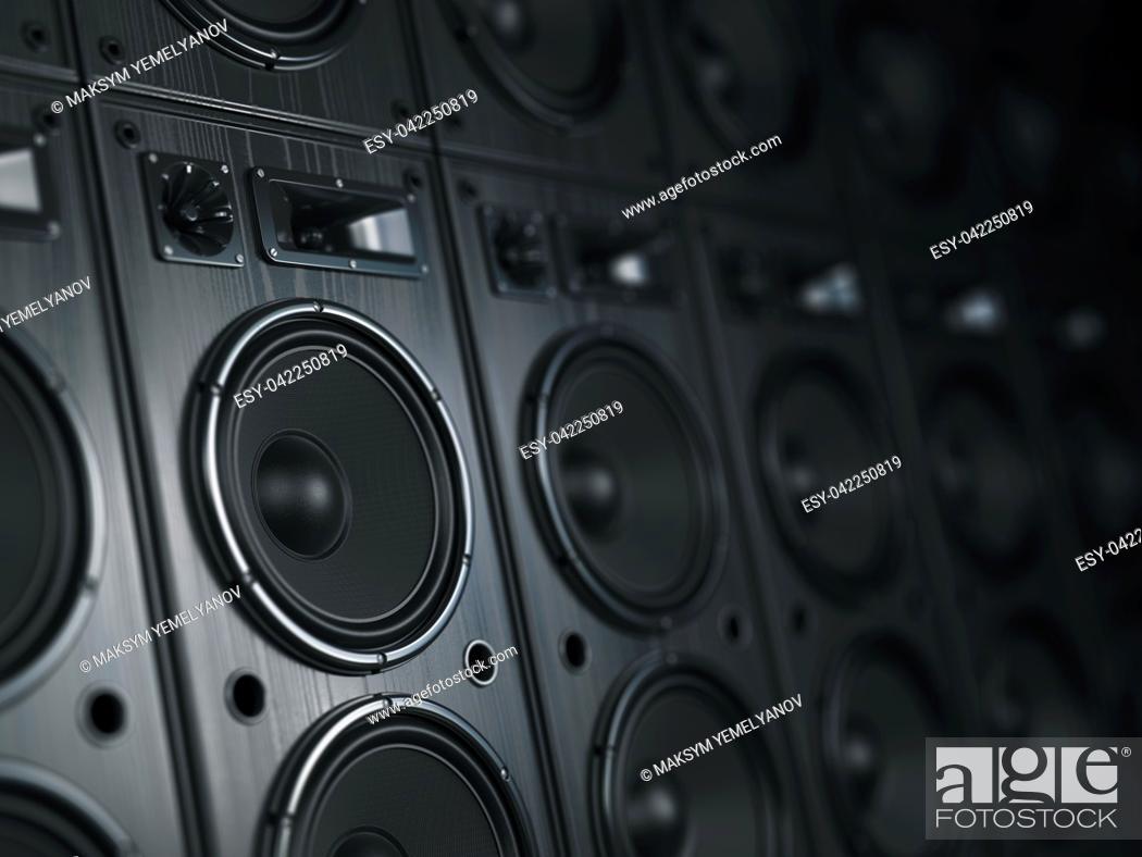 Imagen: Multimedia acoustic sound speaker system. Music concept background. 3d illustration.