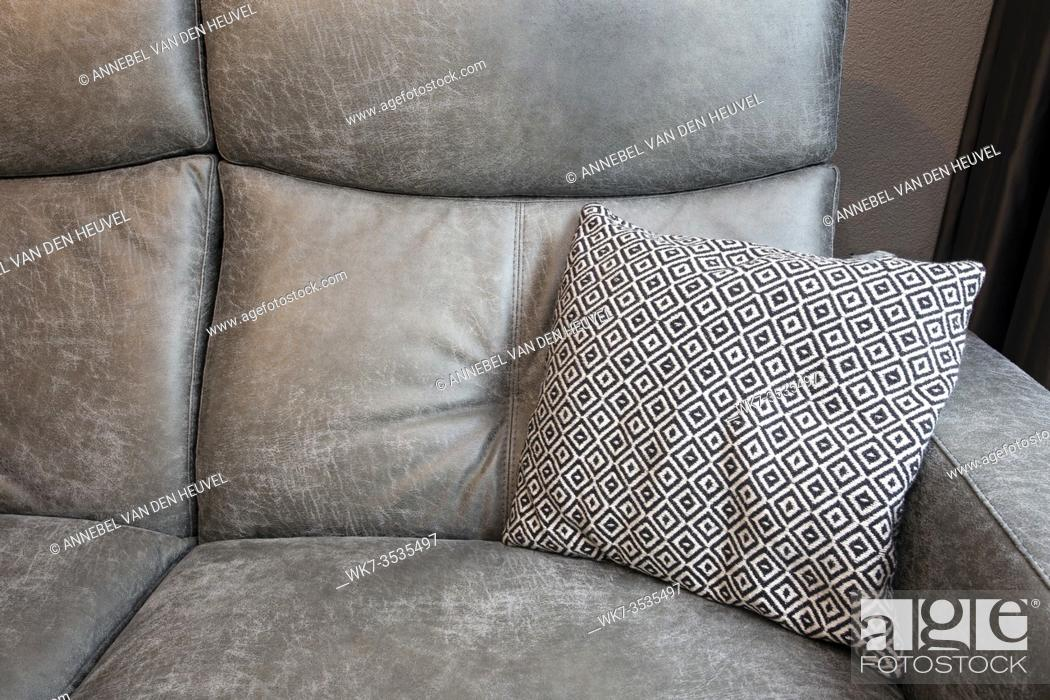 Abstract Of Grey Leather Sofa And Black And White Pillows In Modern Living Room Background Texture Stock Photo Picture And Rights Managed Image Pic Wk7 3535497 Agefotostock