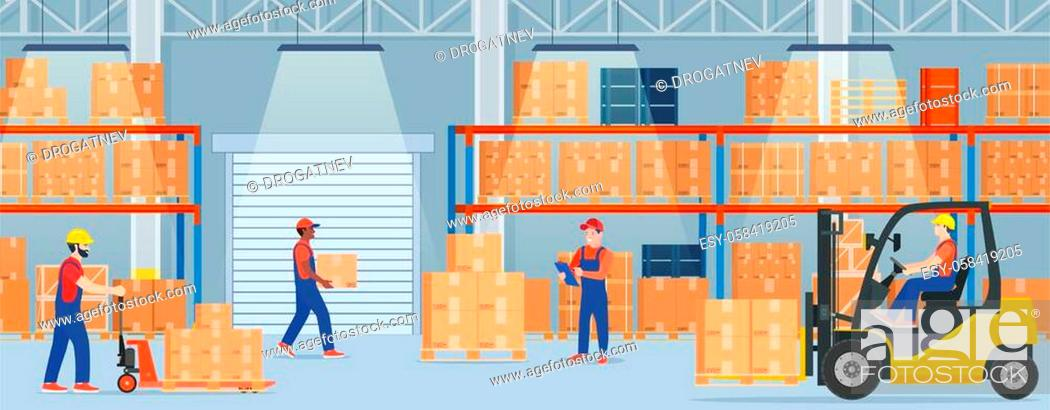 Stock Vector: Warehouse interior with cardboard boxes on metal racks. Warehouse interior with goods, pallet trucks, forklift truck and container package boxes.