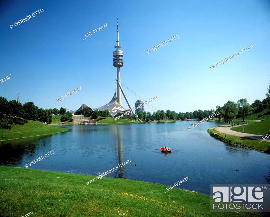 Stock Photo: D-Munich, Isar, Upper Bavaria, Bavaria, Oberwiesenfeld, Olympiapark, 1972 Summer Olympics, Olympic Park, Olympic Tower, Olympic Swim Hall, Olympic Sea.