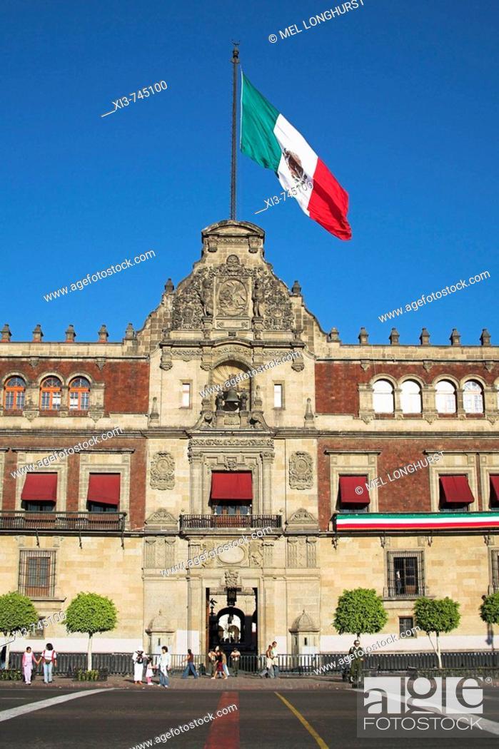 Stock Photo: Palacio Nacional, Presidential Palace, Zocalo, Plaza de la Constitucion, Mexico City, Mexico.