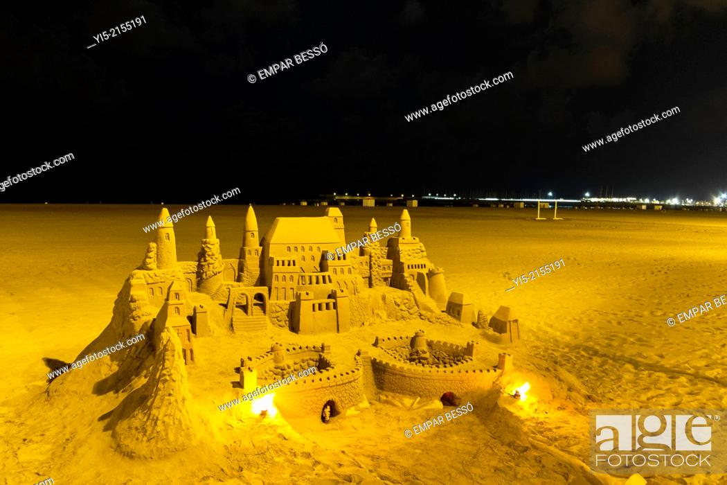 Stock Photo: Sandcastle. Malvarrosa beach, Valencia. Spain.
