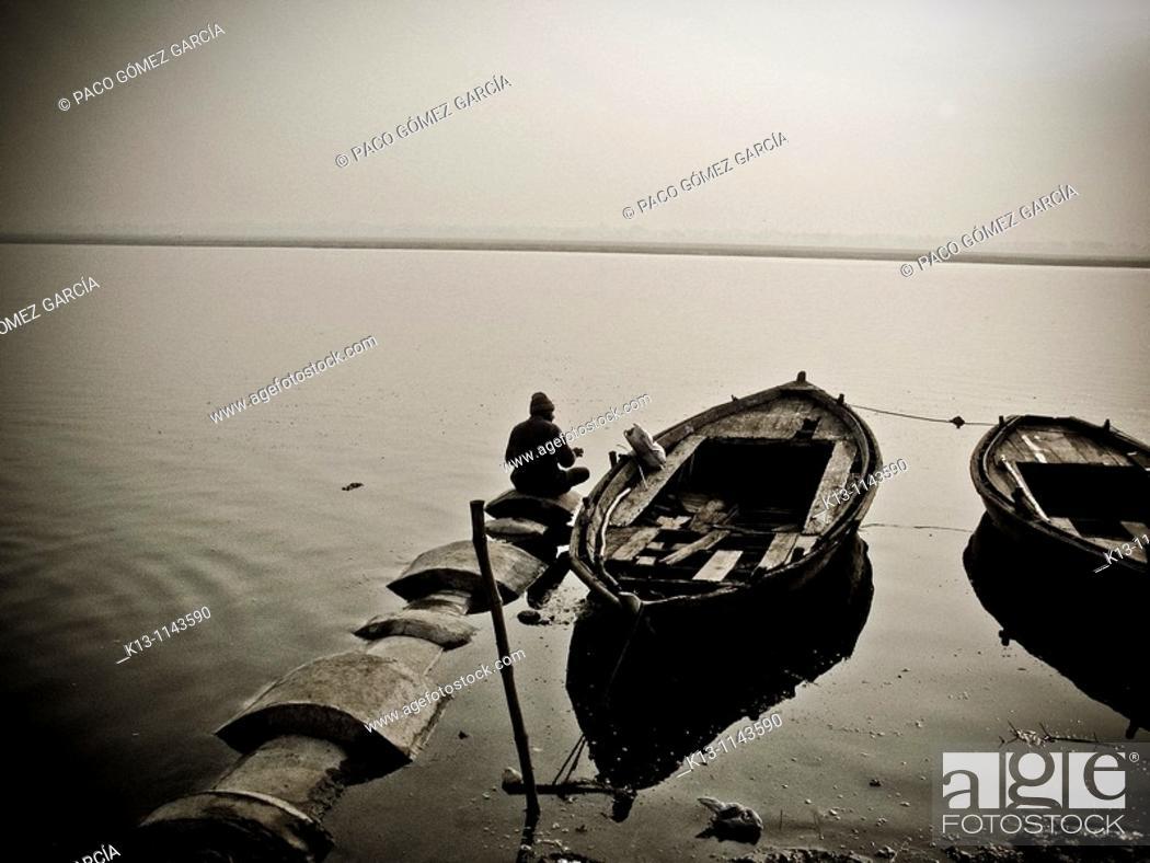Stock Photo: Gats in Varanasi banaras  Uttar Pradesh  India.
