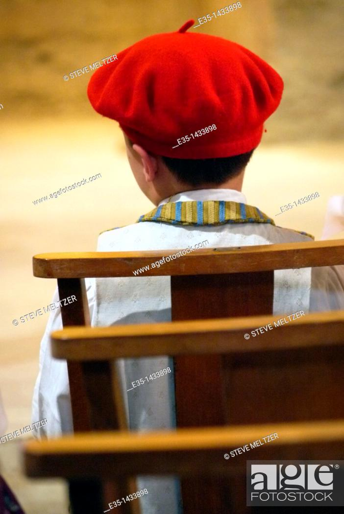 Stock Photo: A young boy in a traditional 'bitterois' or Beziers costume.