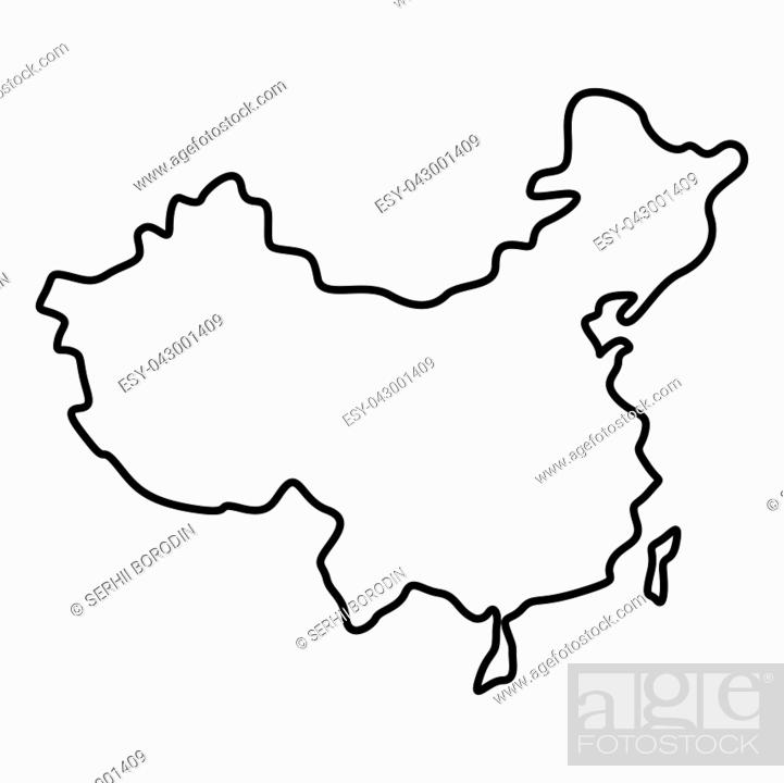 Stock Vector: Map of China icon black color vector illustration flat style outline.