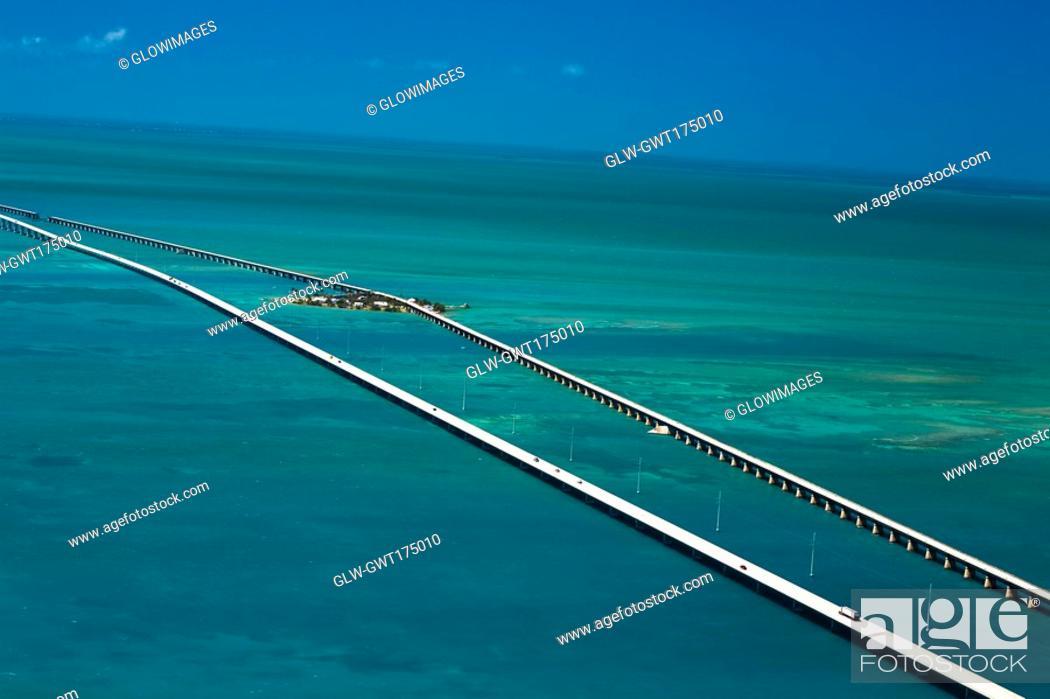 Stock Photo: Aerial view of two bridges over the sea, Florida Keys, Florida, USA.