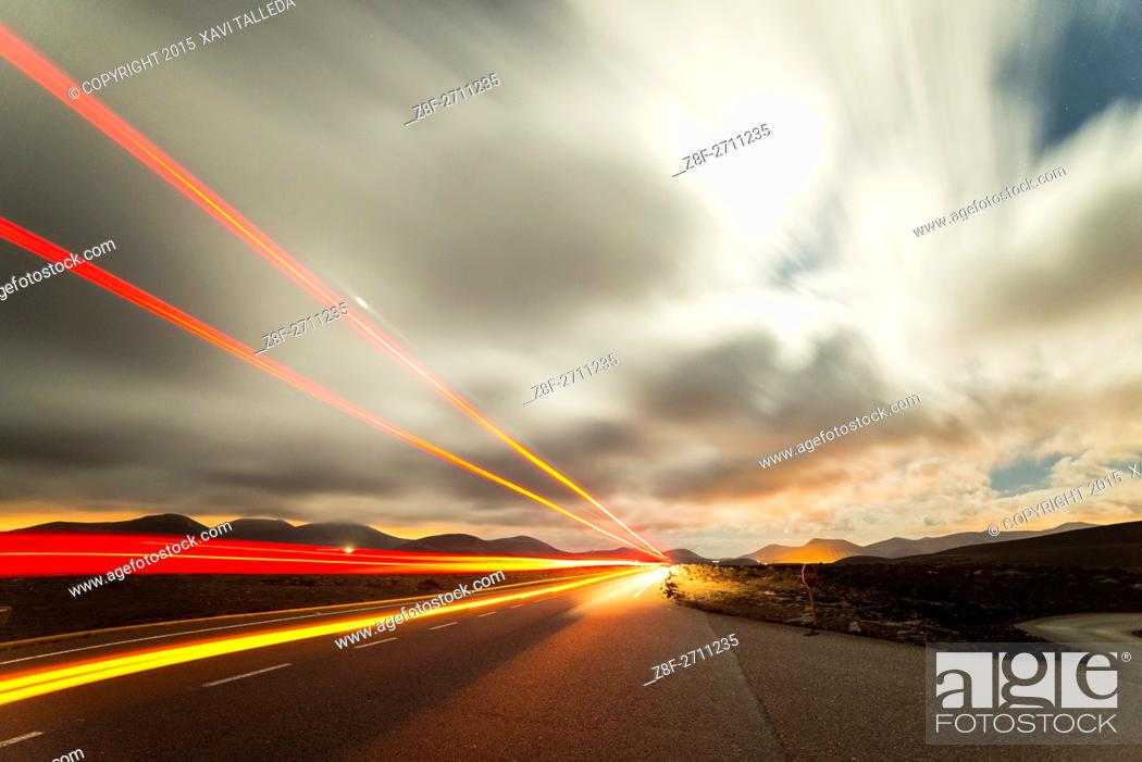 Stock Photo: traffic lights along the road to Yaiza.