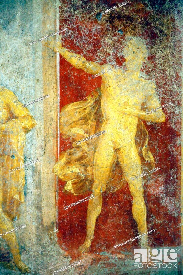 Stock Photo: Italy, Naples, Naples Museum, from Pompeii, House of Diodcuri, Massacre of Niobids.