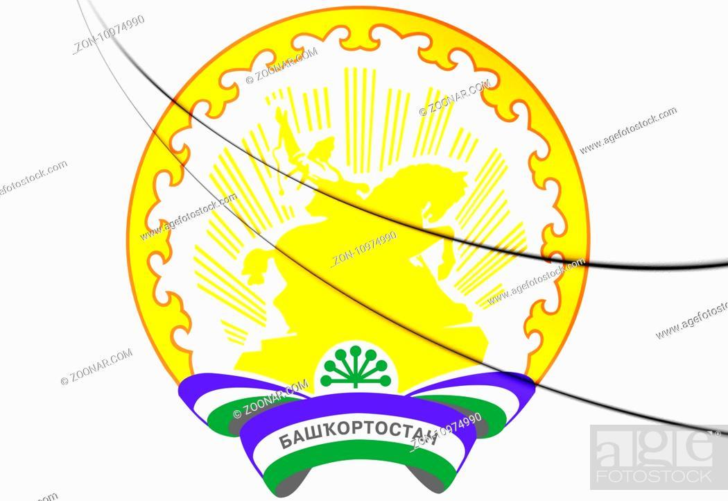 Stock Photo: Republic of Bashkortostan Coat of Arms, Russia. 3D Illustration.