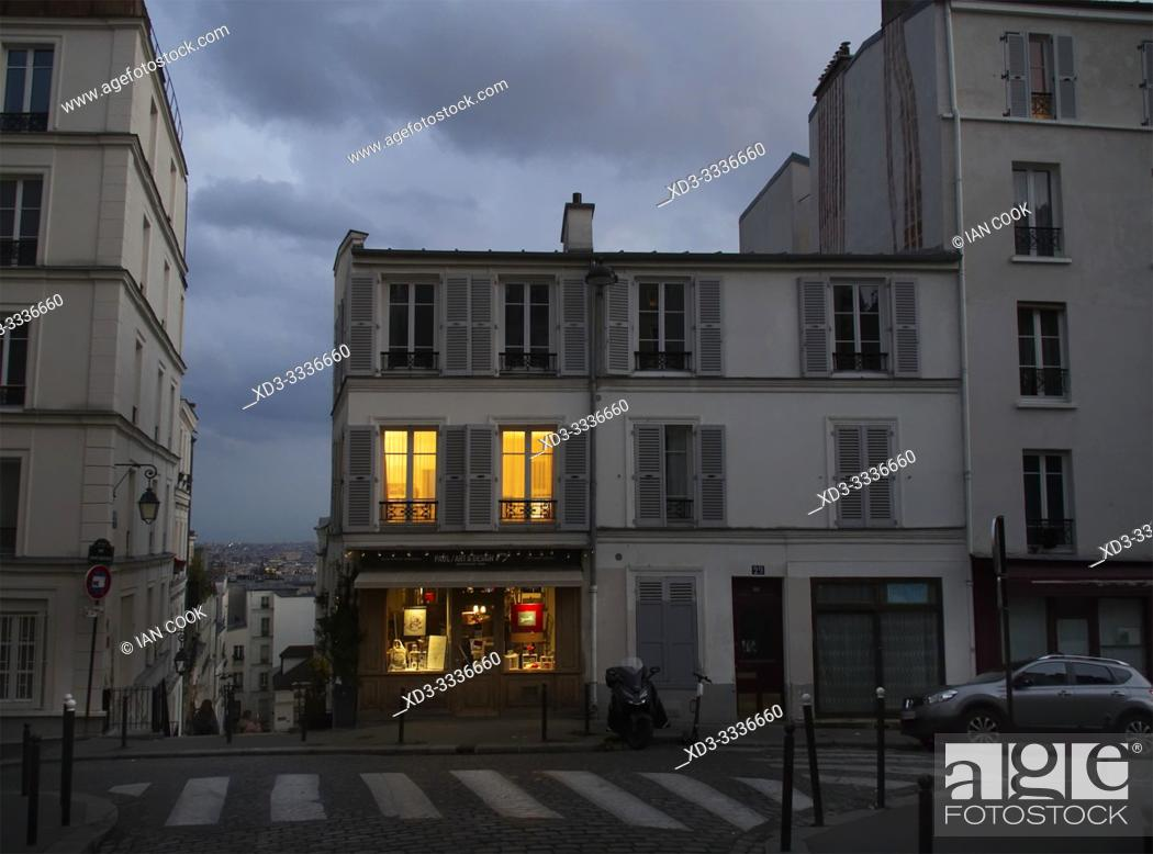 Stock Photo: lighted windows, Montmartre, Paris, France.