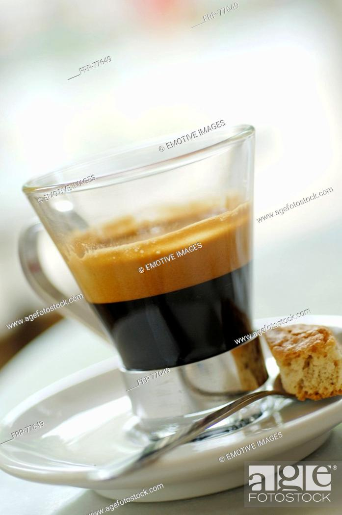 Stock Photo: Café noir in a glass cup.