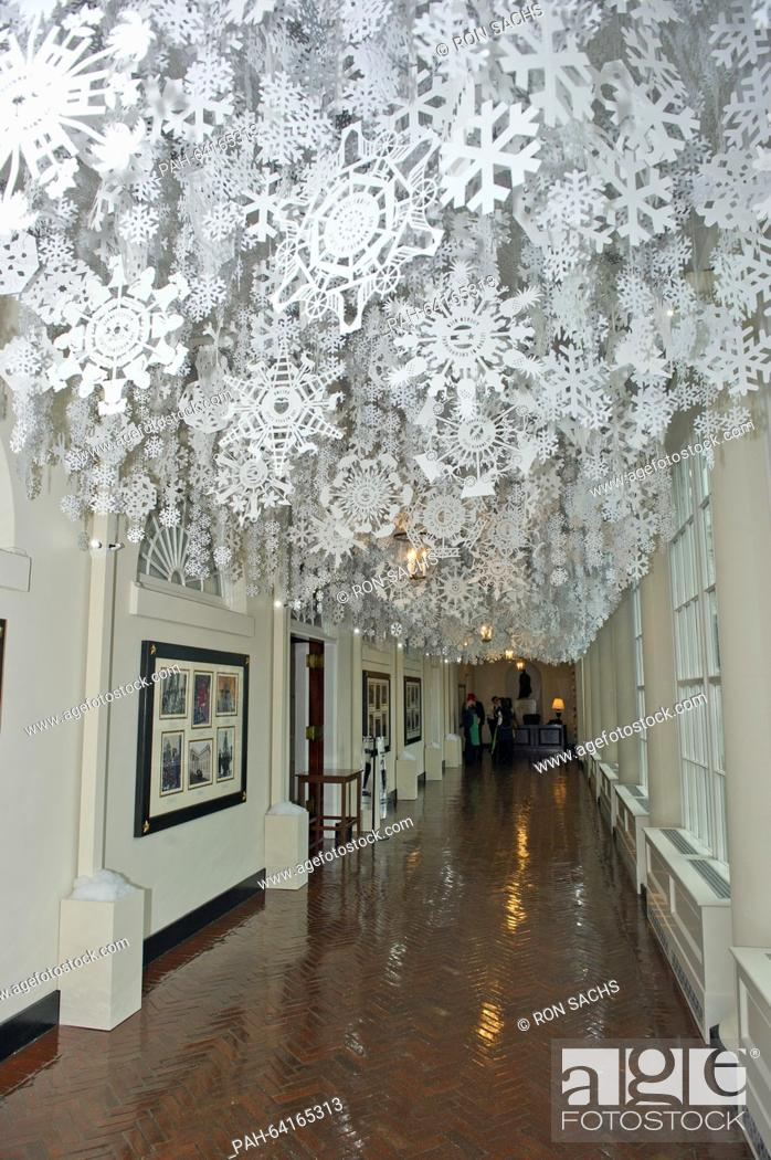 Stock Photo Snowflakes Representing Each Of The 56 States And Territories That Make Up United Hang From Ceiling East Colonnade As
