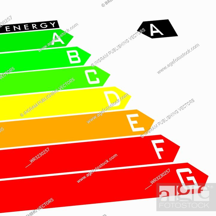 Stock Vector: Energy rating system with multi coloured arrows at an angle.
