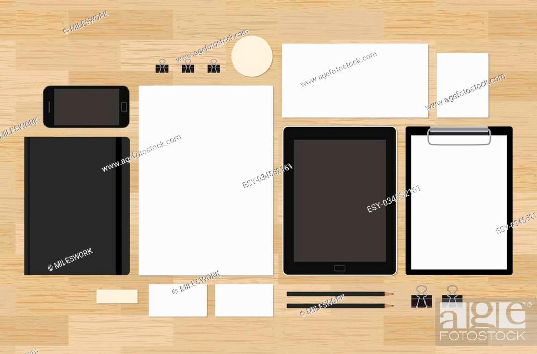 Stock Vector: Blank mock-up for corporate brand identity design presentation. Tablet and mobile phone with A4 and A5 notepad. Envelope and business cards.