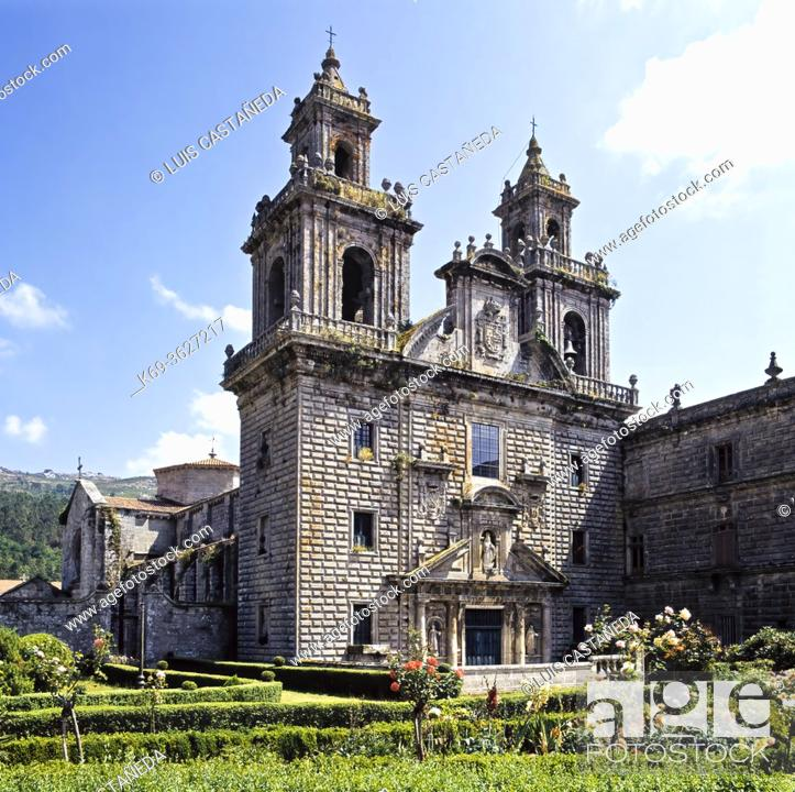 Stock Photo: Construction of this National Monument, also known as 'the Galician El Escorial', began during the second half of the 12th century.