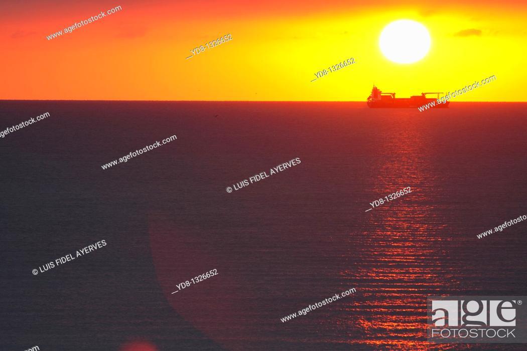 Stock Photo: Sunrise in Miami Beach, Florida, USA.