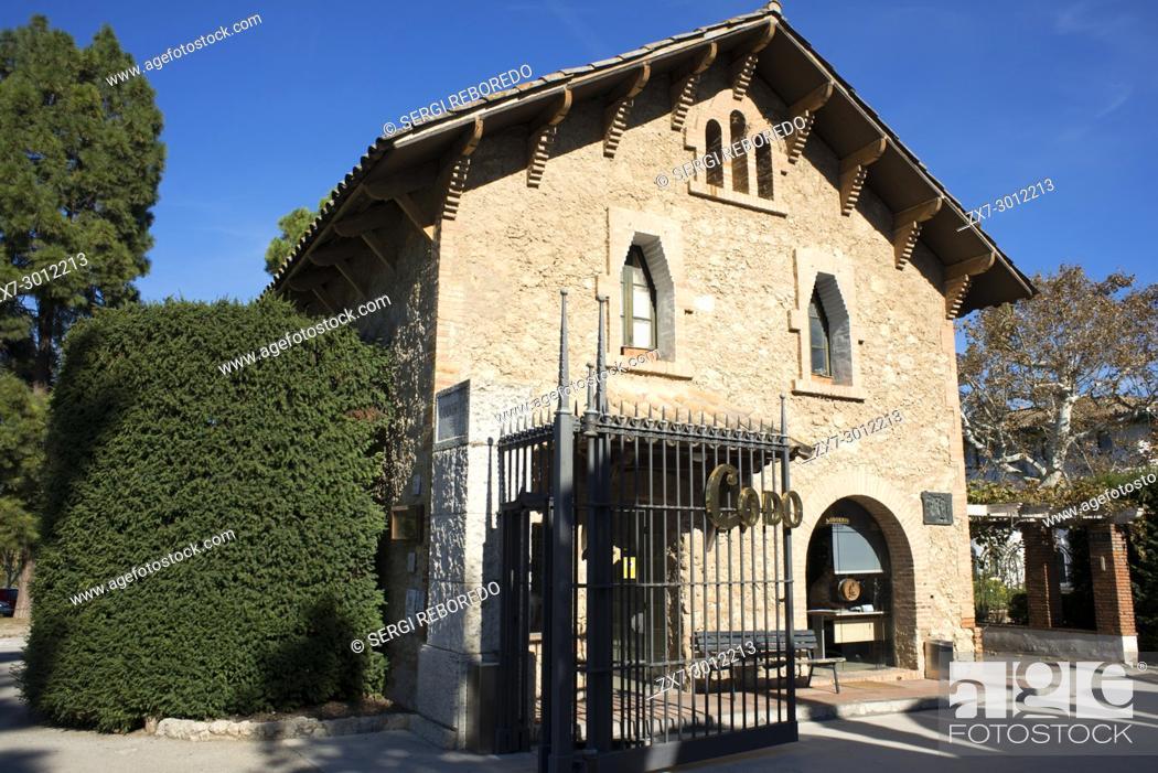 Stock Photo: Codorniu winery industry. Sant Sadurni d'Anoia, San Sadurni de Noya. Winery building. Spain.