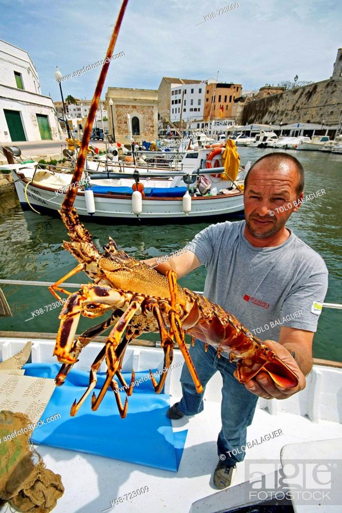 Stock Photo: Fisherman showing lobster, port of Ciutadella. Minorca, Balearic Islands, Spain.