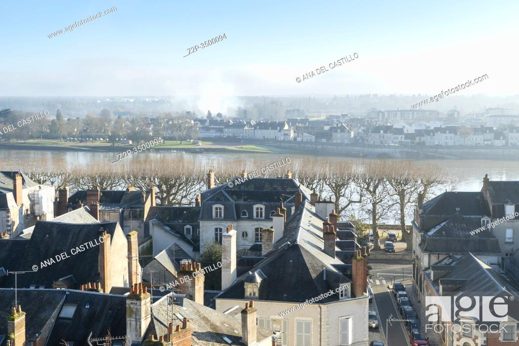 Stock Photo: Aerial view of Blois and Loire river from the viewpoint near the cathedral France.