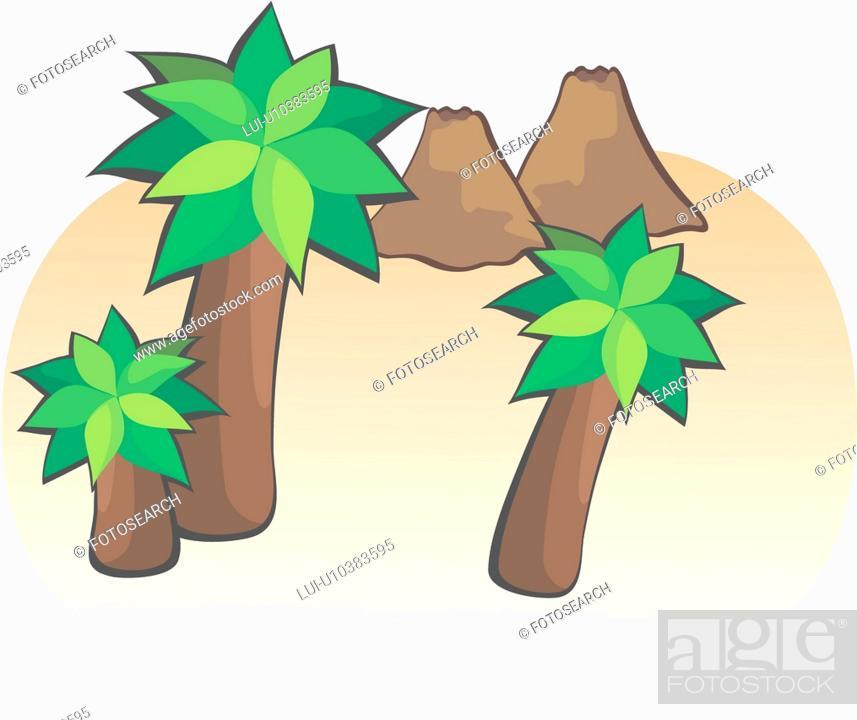 Stock Photo: mountain, volcano, landscape, scenery, tree.