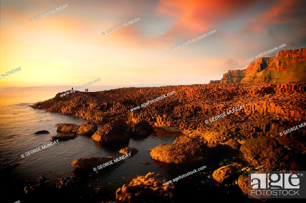 Stock Photo: The Giant's Causeway, known for its polygonal columns of layered basalt and the only UNESCO World Heritage Site in Northern Ireland,.