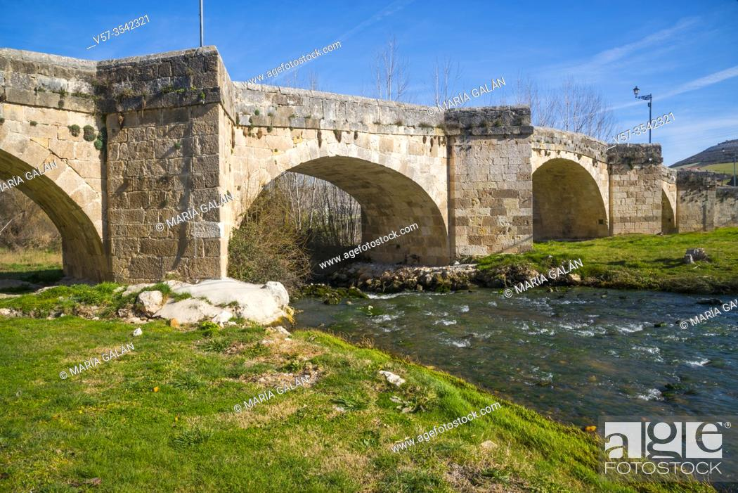 Stock Photo: Bridge over river Duraton. Fuentidueña, Segovia province, Castilla Leon, Spain.