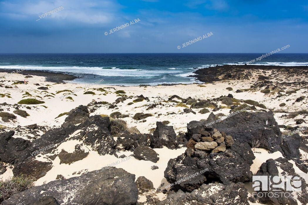 Stock Photo: Malpais de la Corona beach. Caleta del Mojón Blanco. Dunes, white sand beach, Orzola. Lanzarote Island. Canary Islands Spain. Europe.
