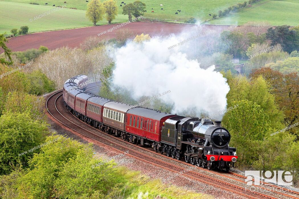 Stock Photo: Steam train. LMS Jubilee Class 'Leander'. Settle to Carlisle Railway Line, Eden Valley, Cumbria, England, UK.