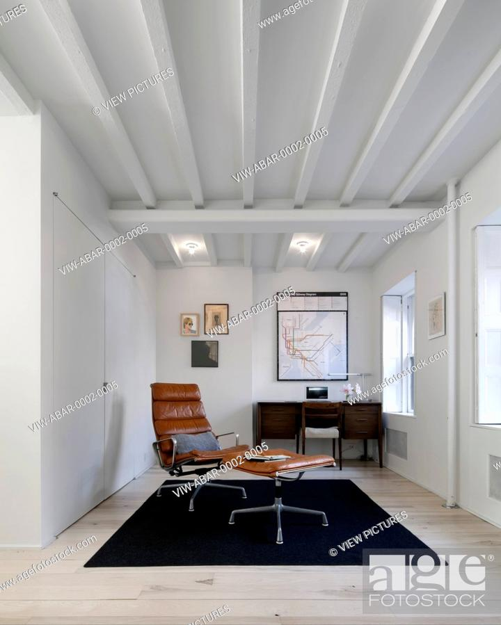 Stock Photo   Park Slope, Brooklyn Residence, Brooklyn, United States.  Architect Davies Tang U0026 Toews , 2012. Home Office, Eames Chair, Framed  Subway Map