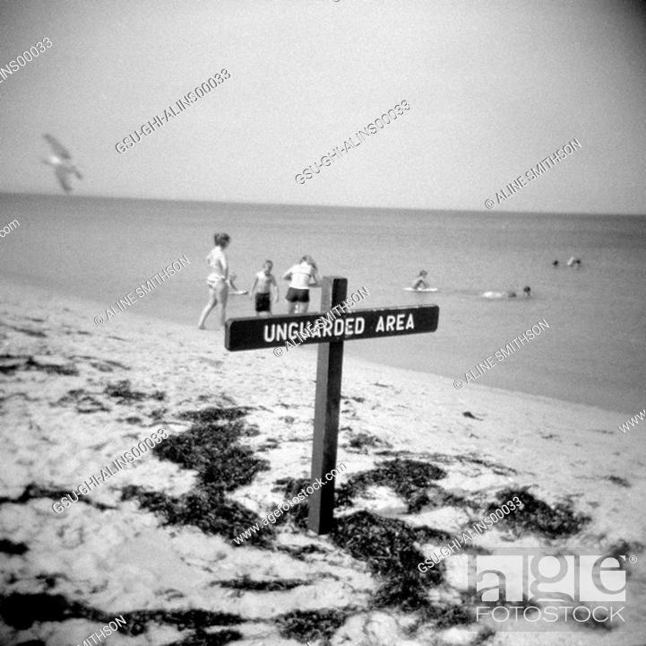 Stock Photo: beach, sign, vacation.